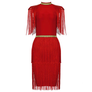 Red And Gold Bandage Dress With Tassels - STEVEN WICK