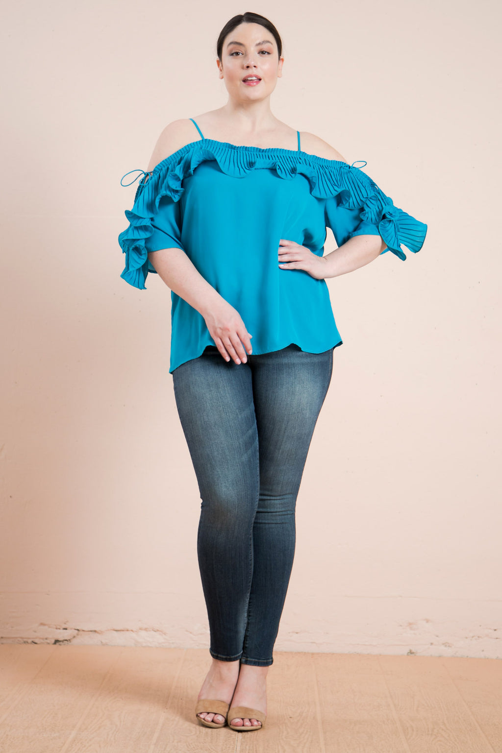 Plus-Size Lopez Turquoise Cold Shoulder Ruffled Pleat Top - STEVEN WICK