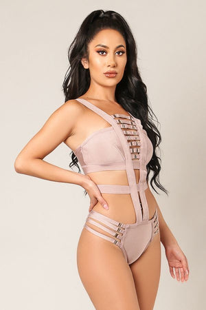 Strappy Buckle Lace-up Bandage Swimsuit - STEVEN WICK