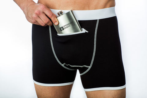 Black Speakeasy Briefs Party Package:  Briefs & Flask