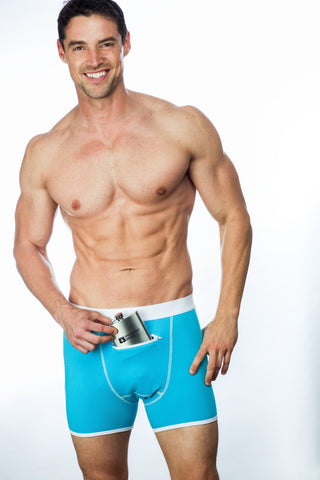 Blue Speakeasy Briefs with secret stash pocket for flask