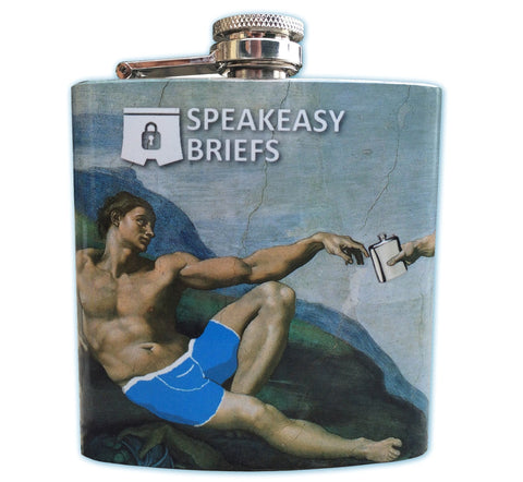 Front of Speakeasy Briefs Stainless Steel 6 Oz Flask