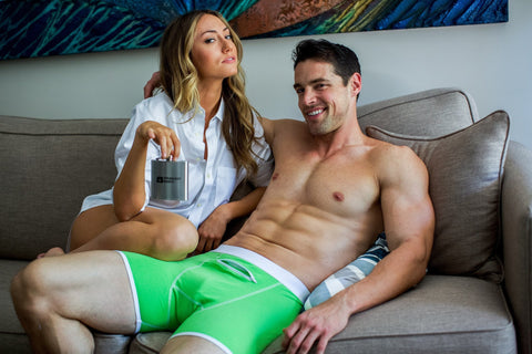 Green boxer briefs with flask pocket