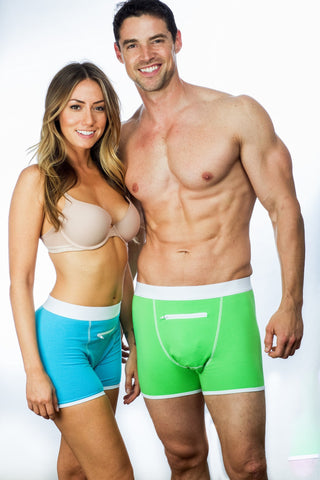 Blue and green Speakeasy Briefs with secret zipper pocket