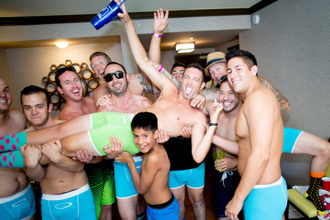 Groomsmen wearing Speakeasy Briefs at the Bachelor's Party