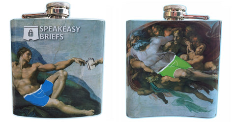 Speakeasy Briefs 6 oz. flask designed for secret underwear pocket