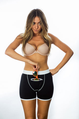 Woman wearing black underwear with secret pocket
