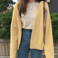 Solid Color Cardigan Knitted Sweater