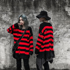 Striped Oversized Knitted Sweater