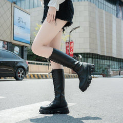 High Knee Punk Lace-up Boots