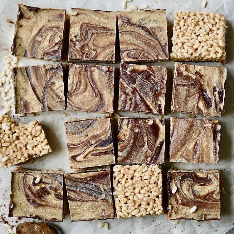 PEANUT BUTTER FUDGE PUFFED RICE BARS ~ ERIN IRELAND