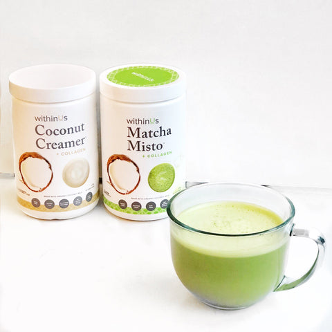 delicious collagen, coconut, and matcha drink