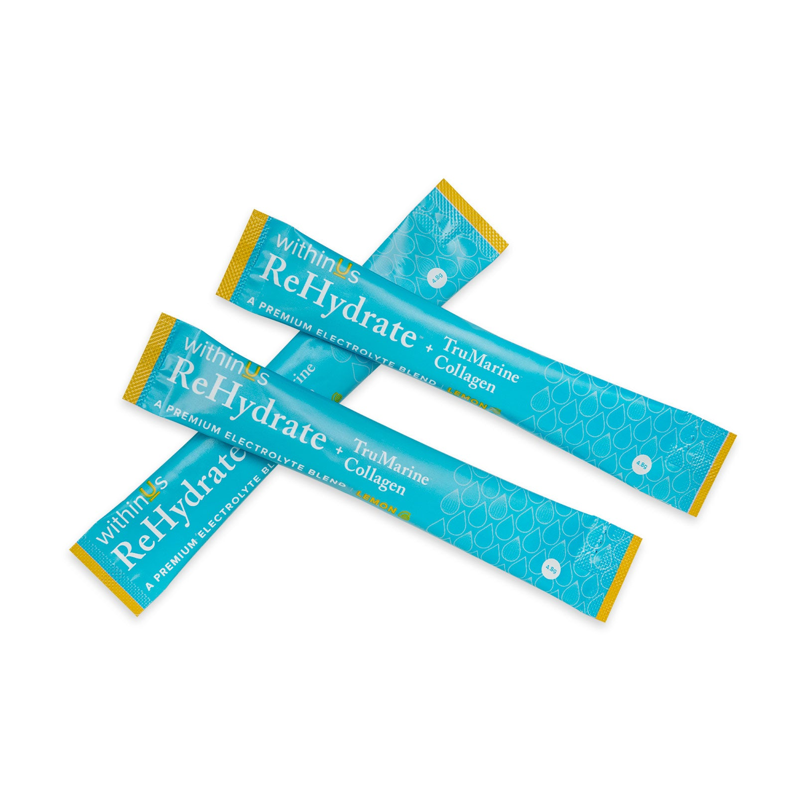 A photo of 3 withinUs ReHydrate + Collagen stick packs