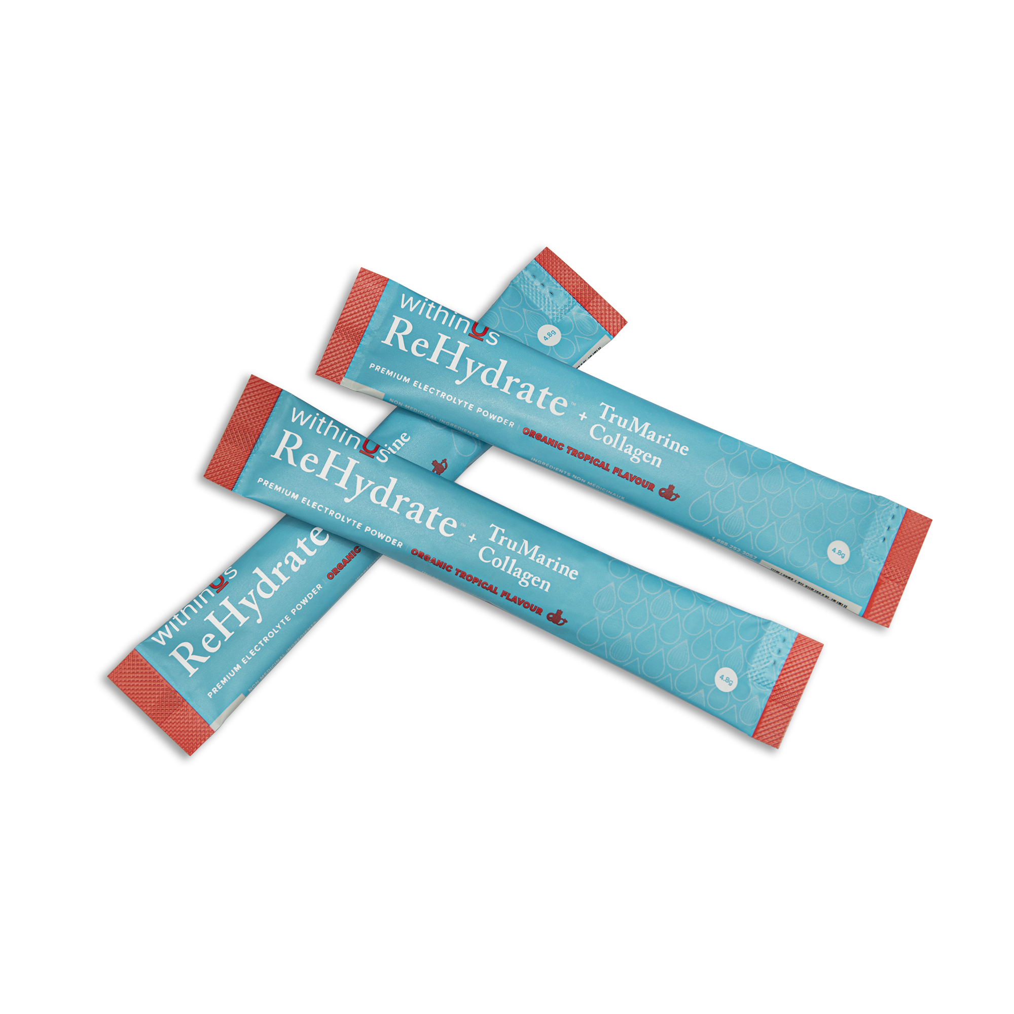 withinUs ReHydrate + TruMarine Collagen  (Refill and Replenish stick packs) - TROPICAL