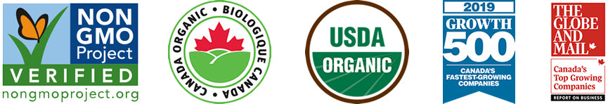 Non GMO verified logo, Informed Sport logo, Canada Organic logo, USDA logo,  Growth 500 2019 logo, The globe and mail - Canada's Top Growing Companies.