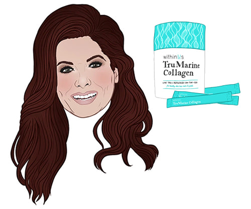 Cartoon Drawing of Debra Messing and TruMarine™ Collagen