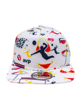 Load image into Gallery viewer, AVP Repreve Splasy Print Golfer Snapback Cap - White