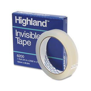 "Highland 3m/Commercial Tape Div. 6200-3/42592 Invisible Permanent Mending Tape, 3/4"" x 2592"", 3"" Core, Clear"