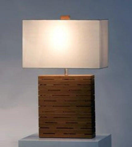 Nova 11681 Rift Reclining Table Lamp, Bamboo with White Linen Shade