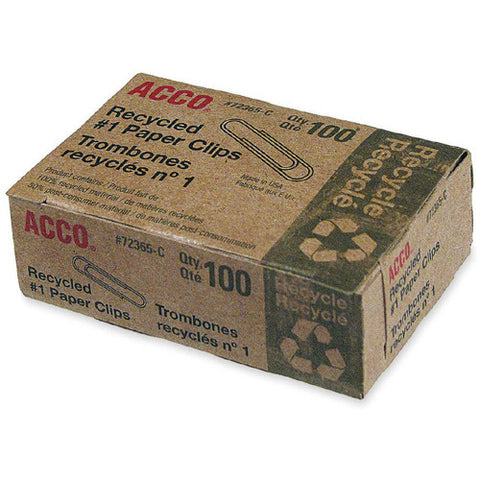 ACCO 72365 Recycled Paper Clips, No. 1 Size, 100/Box, 8 Boxes/Pack
