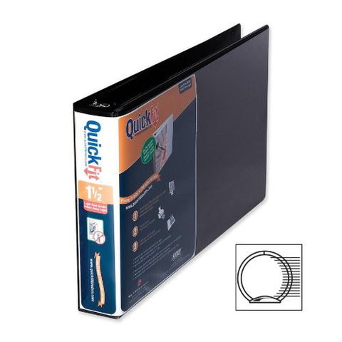 "1 1/2"" Stride® QuickFit® 8 1/2"" x 14"" Landscape Orientation round-Ring View Binder, Black"