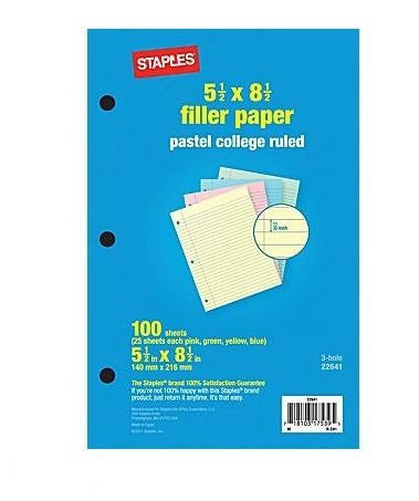 "Pastel College Ruled Filler Paper, 5-1/2"" x 8-1/2"", 100 Sheets"