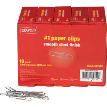 #1 Size Paper Clips, Smooth, 1,000/Pack