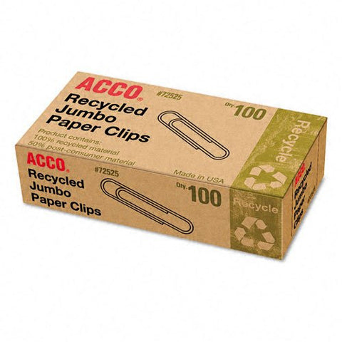 "ACCO 72525 Recycled Paper Clips No 4 1-13/23"" Size Jumbo 100/BX"