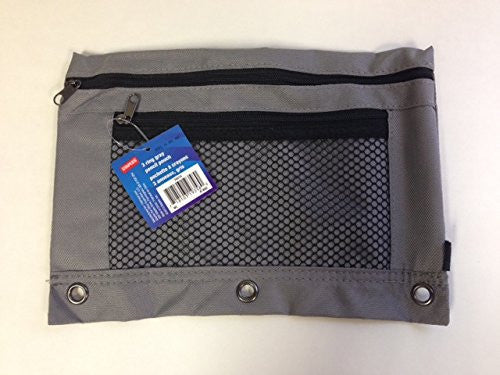 3-Ring Pencil Pouch, Gray