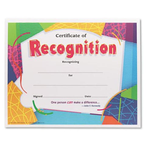 Certificate of Recognition Awards 8-1/2 x 11 30/Pack