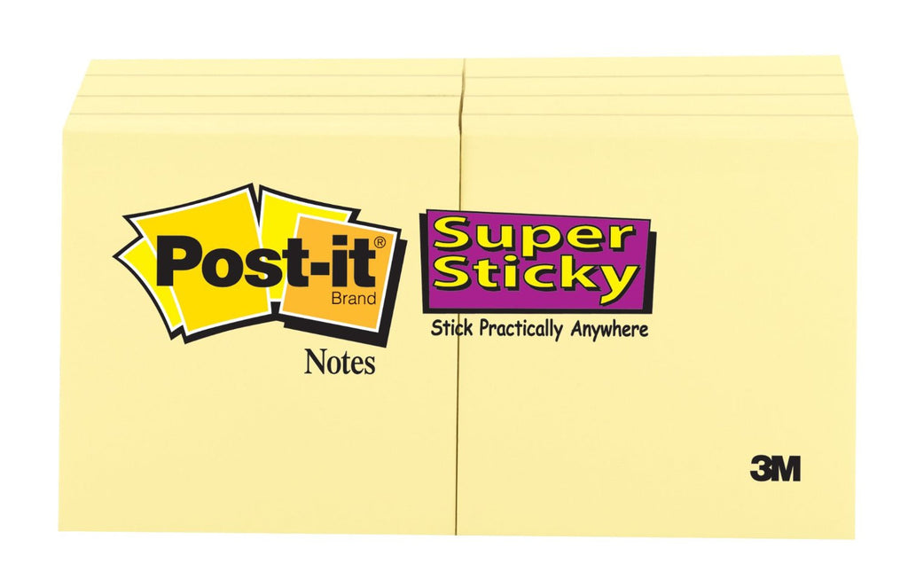 Post-it Super Sticky Notes, 2 x 2 Inches, Canary Yellow, 8 Count
