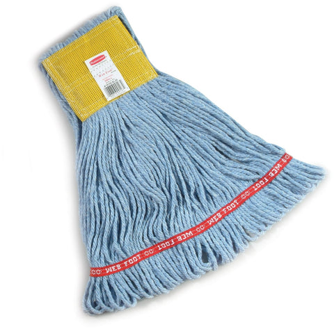 Rubbermaid Commercial FGA15106BL00 Web Foot Wet Mop, Small, 5-inch Yellow Headband, Blue