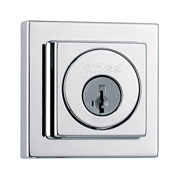 Kwikset 993SQT-S (Polished Chrome) Square Contemporary Single Cylinder Deadbolt
