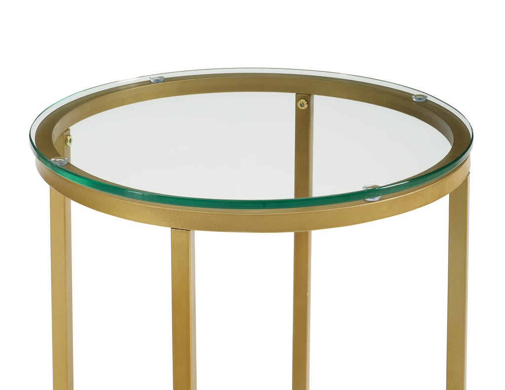 "16"" Round Side Table - Glass/Gold"