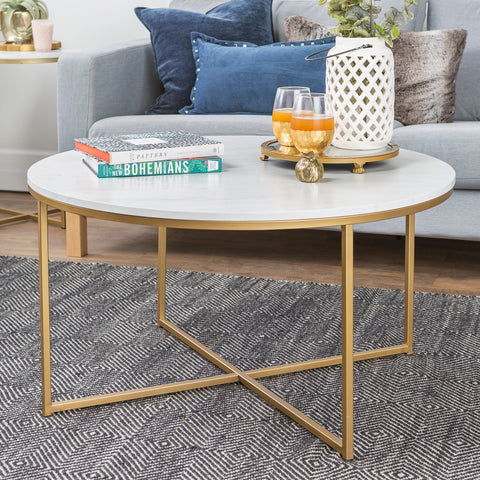 "36"" Coffee Table with X-Base - Marble/Gold"