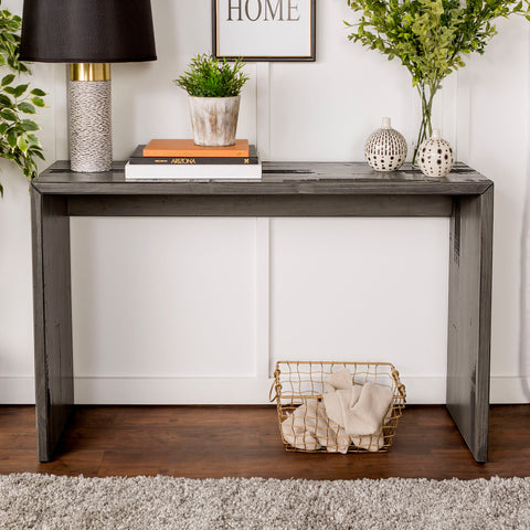 "48"" Solid Rustic Reclaimed Wood Entry Table - Gray"