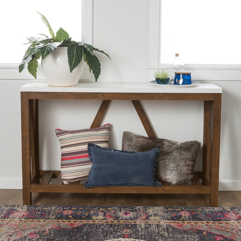 "52"" A-Frame Rustic Entry Console Table - Marble/Walnut"