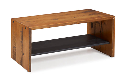 "42"" Solid Rustic Reclaimed Wood Entry Bench - Amber"