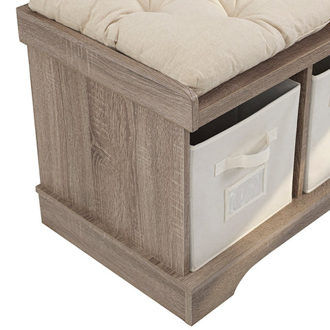 "42"" Wood Storage Bench with Totes and Cushion - Driftwood"