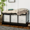 "42"" Wood Storage Bench with Totes and Cushion - Black"