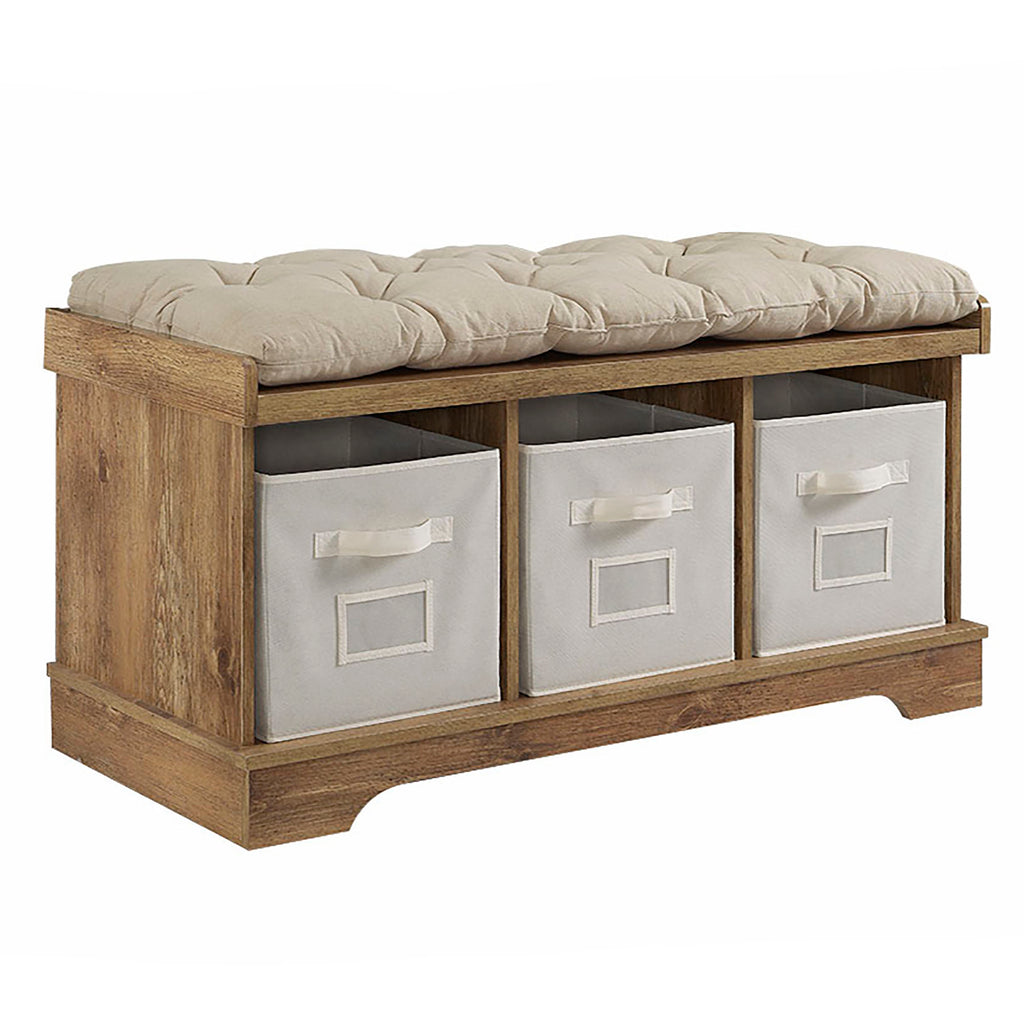 "42"" Wood Storage Bench with Totes and Cushion - Barnwood"