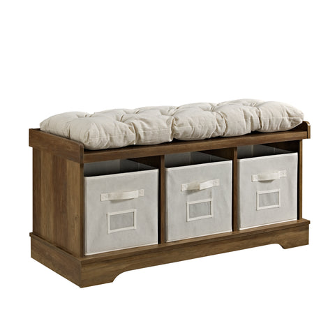 "42"" Wood Storage Bench with Totes and Cushion - Rustic Oak"