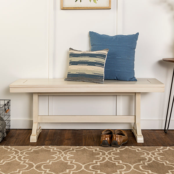 "48"" Millwright Wood Dining Bench - Antique White"