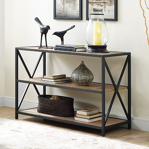 "40"" X-Frame Metal and Wood Media Bookshelf - Barnwood"