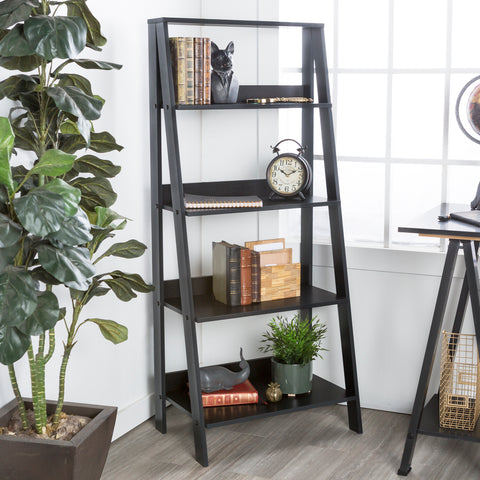 "55"" Wood Ladder Bookshelf - Black"