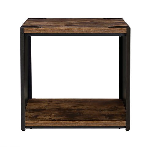 "24"" Steel Plate and Wood Side Table"