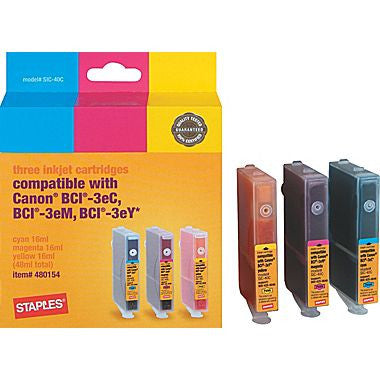 Color Ink Cartridges Compatible with Canon® BCI-3e, 3/Pack