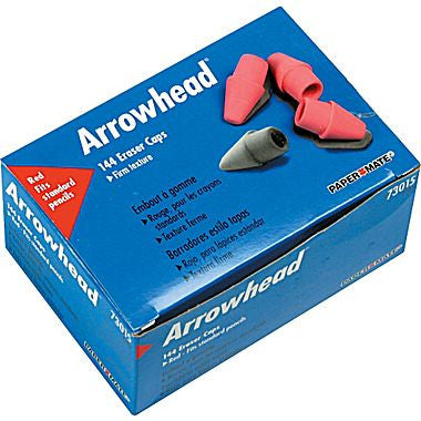 Paper Mate Arrowhead Erasers, Pink Caps, 144/Pack