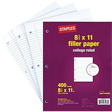 "College Ruled Filler Paper, 8 1/2"" x 11"""