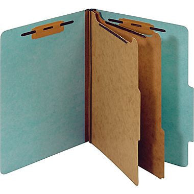 Colored Pressboard Classification Folders, Letter, 2 Partitions, Light Blue, 20/Pack